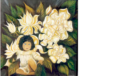 Niña con flores blancas